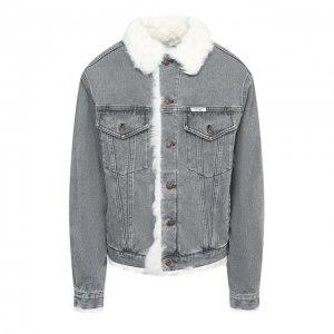 Джинсовая куртка с меховой подкладкой Forte Dei Marmi Couture. Цвет: серый