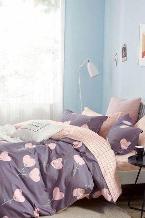 Постельное белье Евро 50x70 Jardin. Цвет: серый, розовый