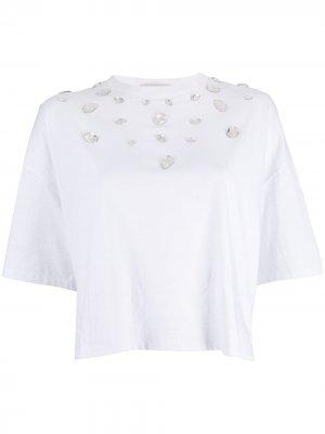 Декорированная футболка мешковатого кроя Christopher Kane. Цвет: белый