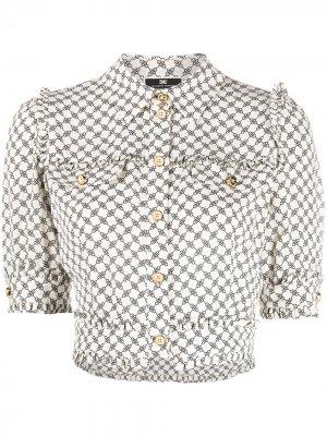 Укороченная рубашка с графичным принтом Elisabetta Franchi. Цвет: нейтральные цвета