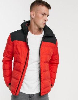 Дутая куртка колор блок -Красный Fat Moose