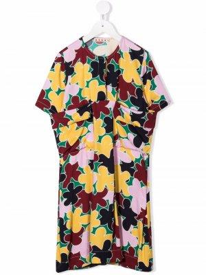 Драпированное платье с цветочным принтом Marni Kids. Цвет: желтый