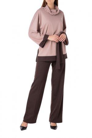 Костюм: туника, брюки Adzhedo. Цвет: мокко, коричневый