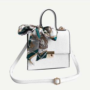 Сумка-портфель с шарфом SHEIN. Цвет: белый