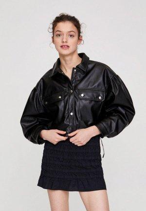 Куртка кожаная Pull&Bear. Цвет: черный