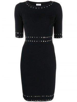 Трикотажное платье с заклепками LIU JO. Цвет: черный