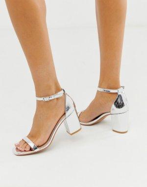 Серебристые босоножки на блочном каблуке -Серебряный Glamorous