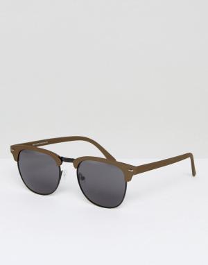 Солнцезащитные очки в квадратной оправе цвета хаки New Look. Цвет: зеленый