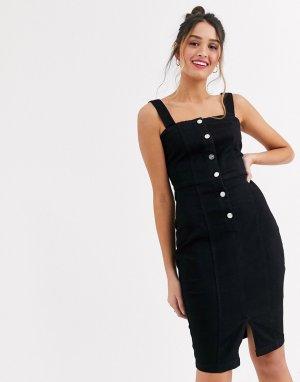 Черное джинсовое платье мини на пуговицах -Черный Lipsy