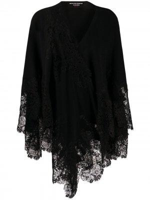 Кардиган-шаль с кружевом Ermanno Scervino. Цвет: черный