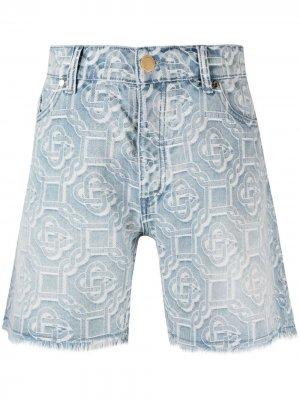 Джинсовые шорты с вышитым логотипом Casablanca. Цвет: синий
