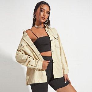 На пуговицах Одноцветный Повседневный Джинсовые куртки и пальто SHEIN. Цвет: aбрикосовый