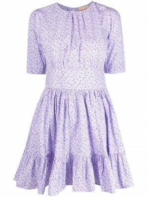 Платье со сборками и цветочным принтом byTiMo. Цвет: фиолетовый