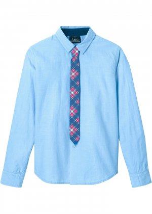 Рубашка Slim Fit с галстуком (2 изд.) bonprix. Цвет: синий
