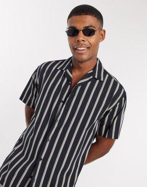 Черная рубашка в полоску с короткими рукавами и отложным воротником Premium-Черный Jack & Jones