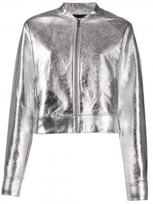 Куртка-бомбер с эффектом металлик Karl Lagerfeld. Цвет: серебристый