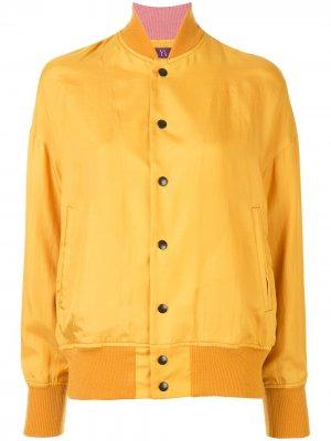 Ys куртка-бомбер с принтом Y's. Цвет: желтый
