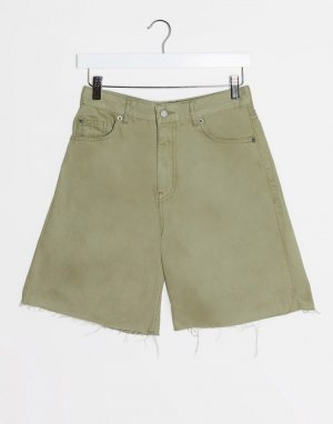 Джинсовые шорты цвета хаки с завышенной талией -Зеленый Dr Denim