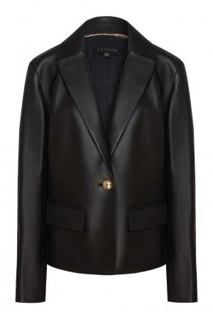 Кожаная куртка-пиджак Escada. Цвет: черный
