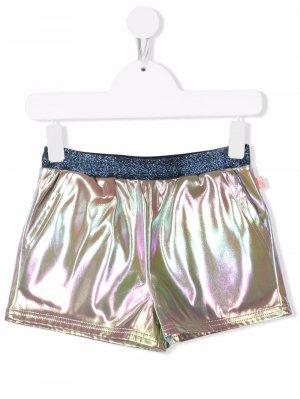 Iridescent-effect elasticated shorts Billieblush. Цвет: серебристый