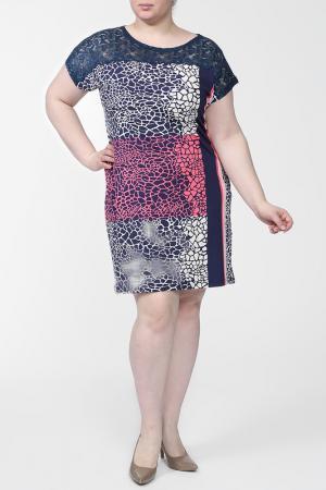 Платье First Orme. Цвет: синий, розовый