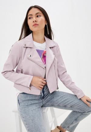 Куртка кожаная Guess Jeans. Цвет: розовый