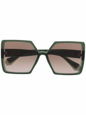 Солнцезащитные очки Ava в массивной оправе GIGI STUDIOS. Цвет: зеленый