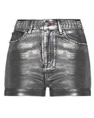 Джинсовые шорты PHILIPP PLEIN. Цвет: черный