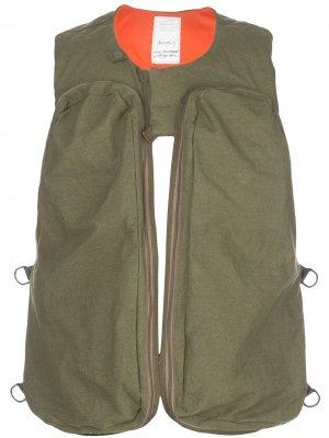 Жилет с карманами на молнии Readymade. Цвет: зеленый