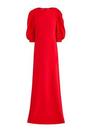 Алое платье макси с декольтированной спинкой и разрезами по бокам ELIE SAAB. Цвет: красный