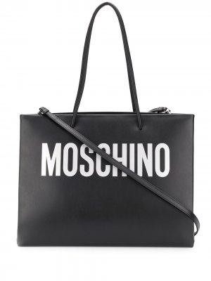 Сумка-тоут с логотипом Moschino. Цвет: черный