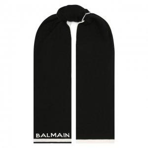 Шерстяной шарф Balmain. Цвет: чёрно-белый