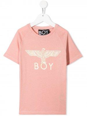 Футболка с логотипом Boy London Kids. Цвет: розовый