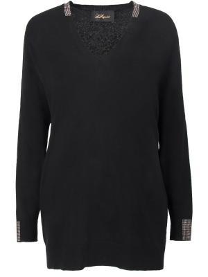 Шерстяной пуловер Les Copains. Цвет: черный