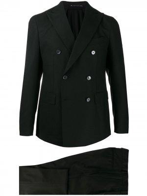 Костюм с двубортным пиджаком Bagnoli Sartoria Napoli. Цвет: черный