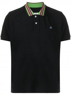 Рубашка поло с отделкой в полоску Vivienne Westwood. Цвет: черный