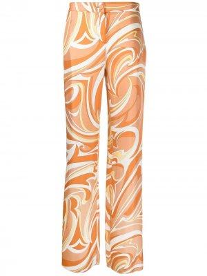Широкие брюки с принтом Vortici Emilio Pucci. Цвет: желтый