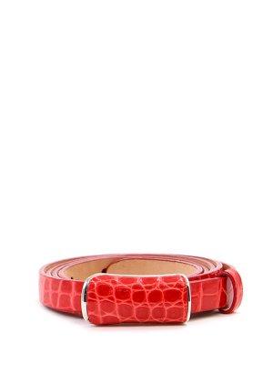 Ремень из кожи крокодила Alessandro Bonimi. Цвет: красный