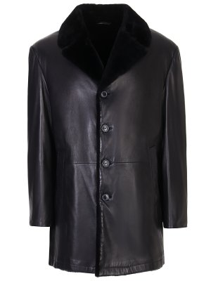 Куртка кожаная с мехом бобра SCHIATTI