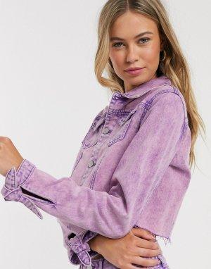 Фиолетовая короткая джинсовая куртка -Фиолетовый Urban Bliss