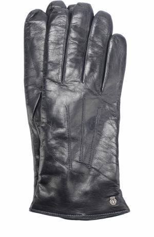 Кожаные перчатки с подкладкой из смеси шерсти и кашемира Roeckl. Цвет: темно-синий