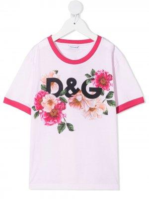 Футболка с цветочным принтом Dolce & Gabbana Kids. Цвет: розовый