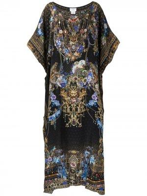 Платье с длинными рукавами и абстрактным принтом Camilla. Цвет: черный