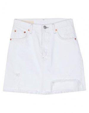 Джинсовая юбка HAIKURE. Цвет: белый