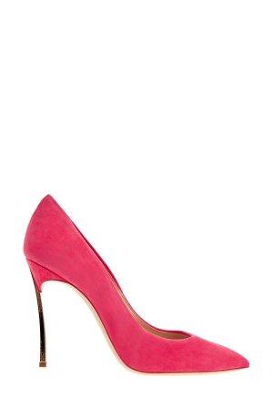 Туфли на шпильке Blade из замши неоново-розового оттенка CASADEI. Цвет: розовый