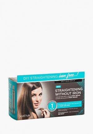 Набор для ухода за волосами Kativa IRON FREE выпрямления Восстановление волос с секущимися кончиками. Цвет: белый