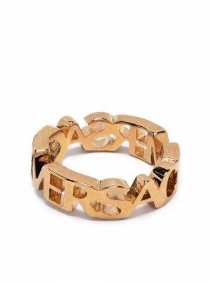 Кольцо с логотипом Versace. Цвет: золотистый