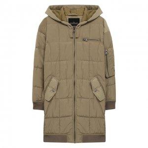 Пальто с капюшоном Designers, Remix girls. Цвет: хаки