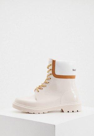 Резиновые ботинки See by Chloe. Цвет: бежевый