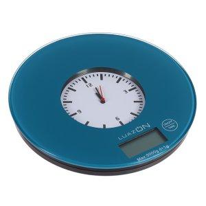 Весы кухонные luazon lvk-508, электронные, до 5 кг, встроенные часы, тёмно-синие Home